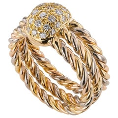 Cartier Diamond Tricolor Gold Ring