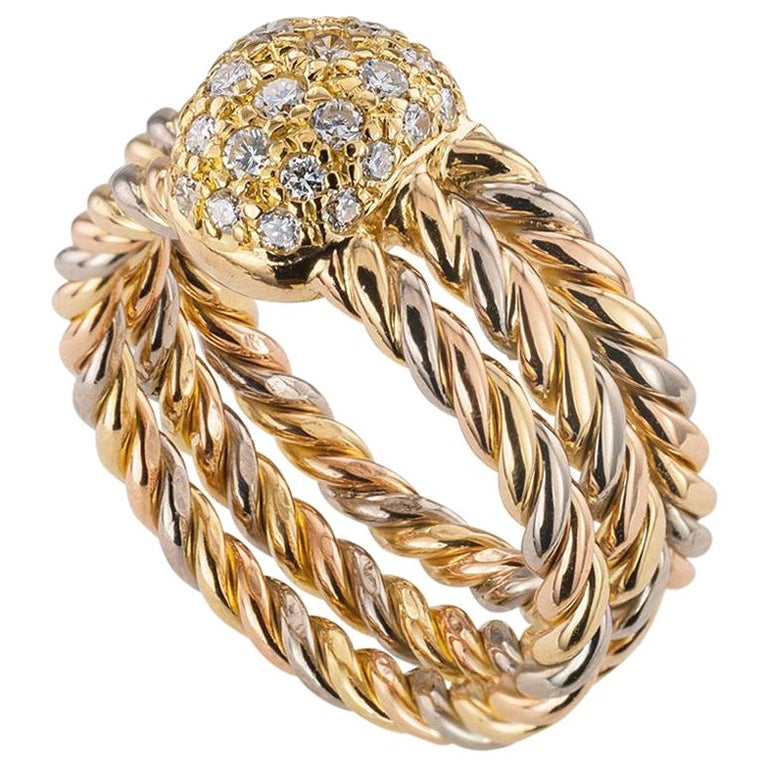 Cartier Diamond Tricolor Gold Ring For Sale