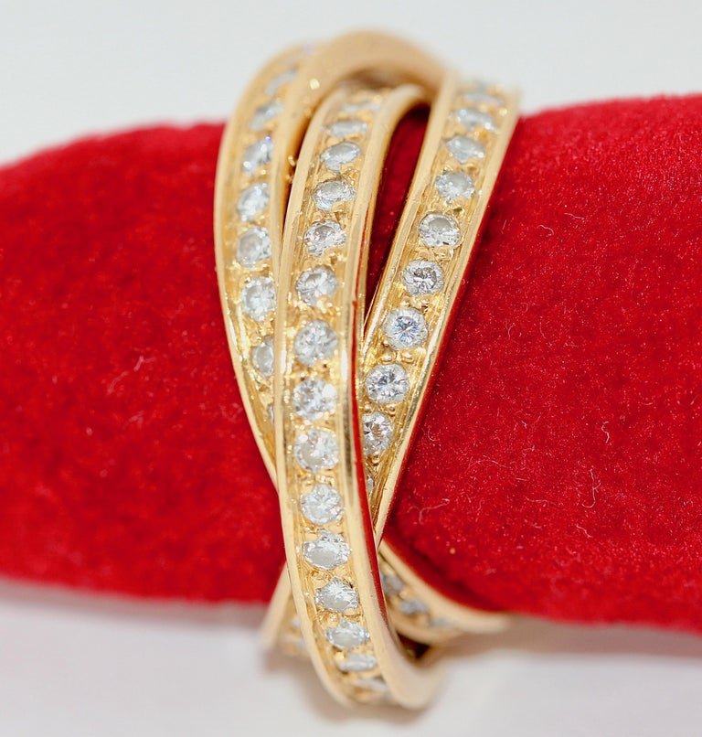 Modern Cartier Diamond Trinity Ring, 18 Karat Gold For Sale
