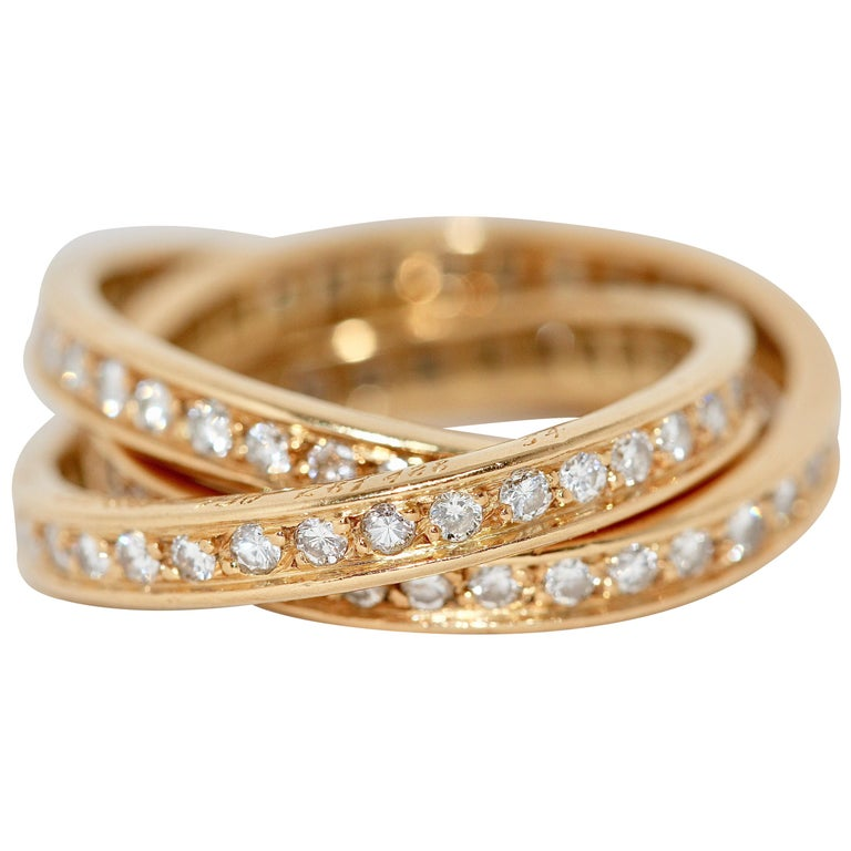 Cartier Diamond Trinity Ring, 18 Karat Gold For Sale