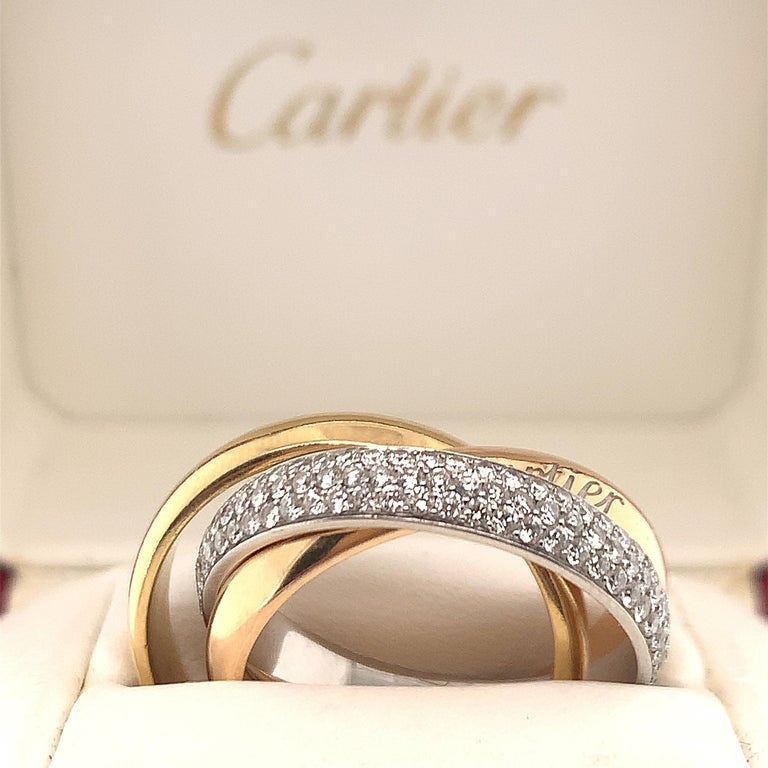 Round Cut Cartier Diamond Trinity Ring For Sale
