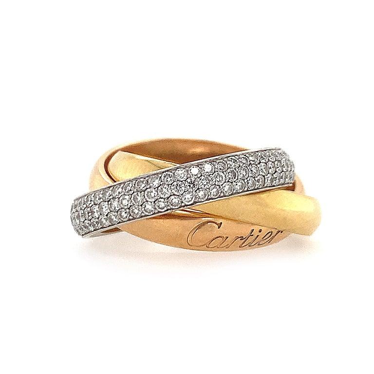 Women's Cartier Diamond Trinity Ring For Sale