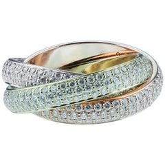 Cartier Diamond Trinity Ring, Medium Model, 18 Karat White, Rose, Yellow Gold