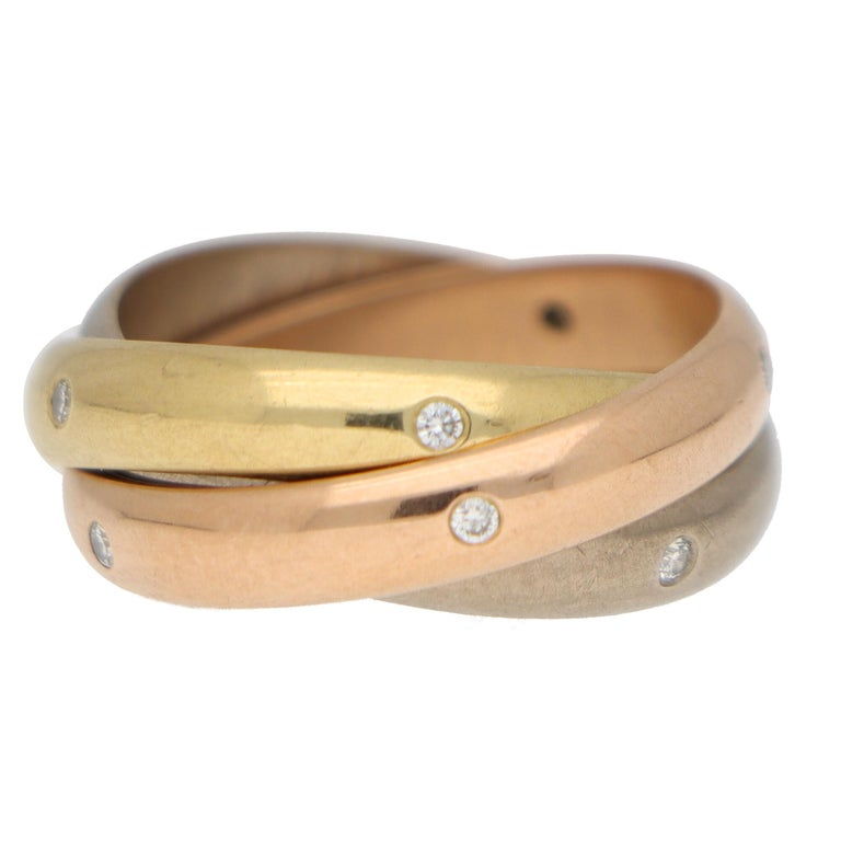 Round Cut Cartier Diamond Trinity Ring Set in 18k Yellow, Rose and White Gold For Sale