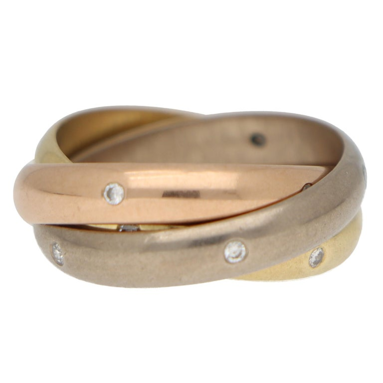 Cartier Diamond Trinity Ring Set in 18k Yellow, Rose and White Gold In Fair Condition For Sale In London, GB