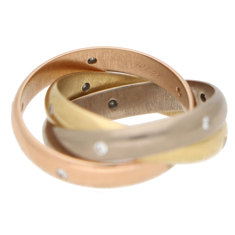 Cartier Diamond Trinity Ring Set in 18k Yellow, Rose and White Gold For Sale 1