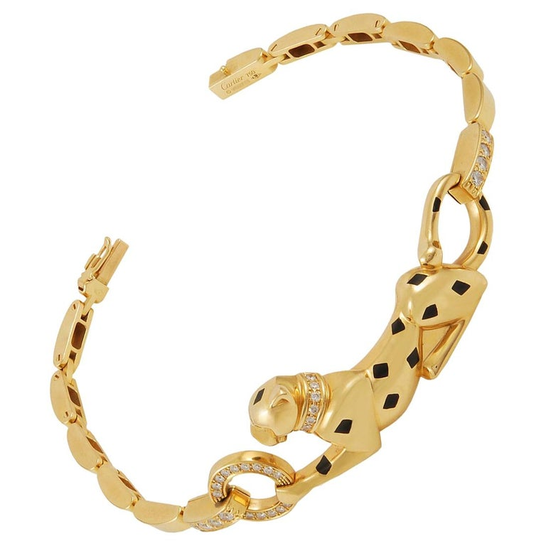 Cartier Diamond Tsavorite Onyx Panther Bracelet For Sale