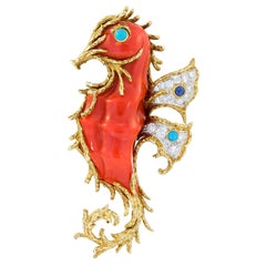 Cartier Diamond Turquoise Sapphire Yellow and White Gold Seahorse Brooch