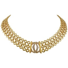 """Cartier Diamond Gold Double C Motif """"Penelope"""" Link Necklace"""