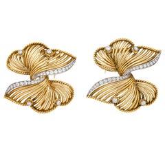 Cartier Diamond Two Swirl Brooch