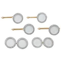 Cartier Diamond White Enamel Dress Set Cufflinks