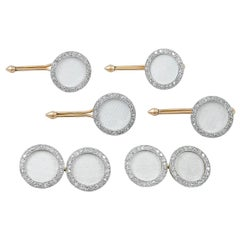 Cartier Diamond White Enamel Dress Set Cufflinks