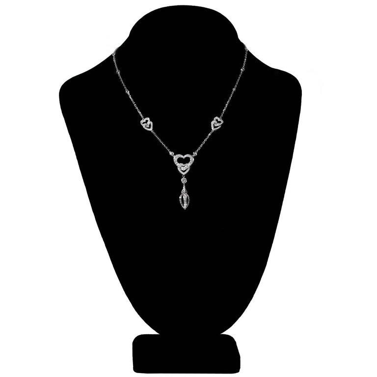 Women's Cartier Diamond White Gold Heart Pendant Necklace For Sale