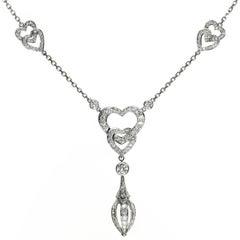 Cartier Diamond White Gold Heart Pendant Necklace