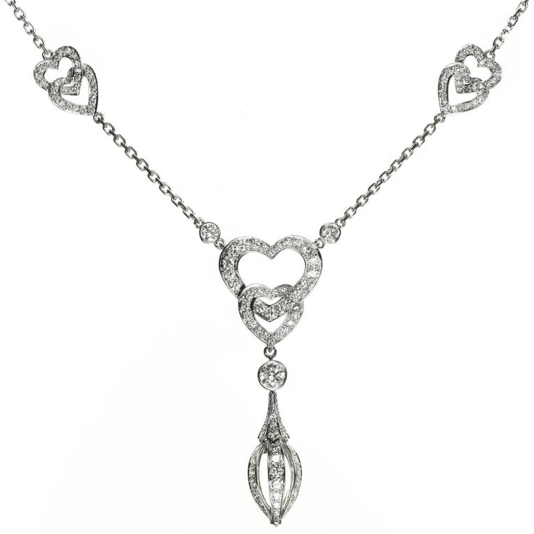 Cartier Diamond White Gold Heart Pendant Necklace For Sale