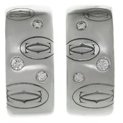 Cartier Diamond White Gold Huggies Clip-On Earrings