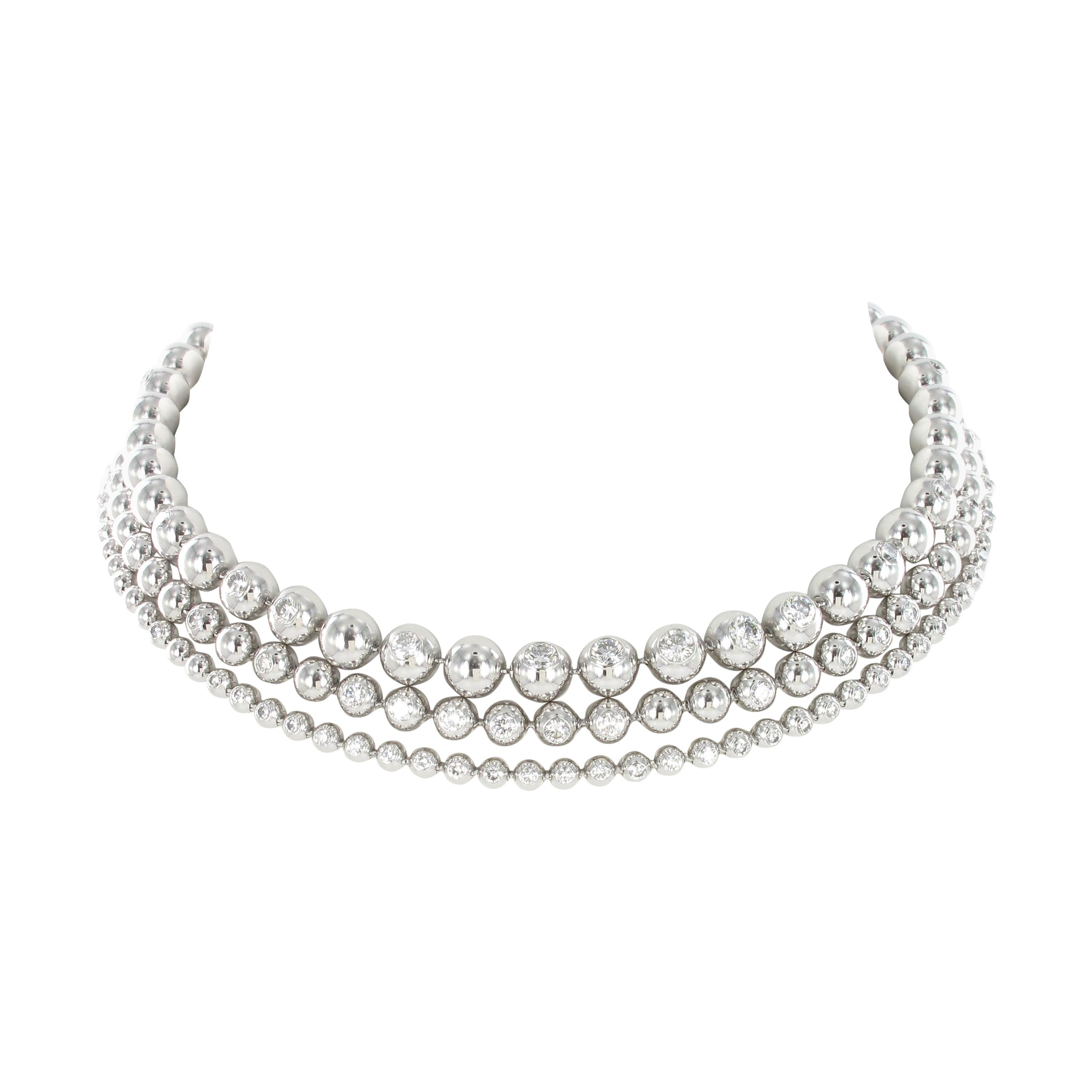 Cartier Diamond White Gold Perles De Diamants Necklace