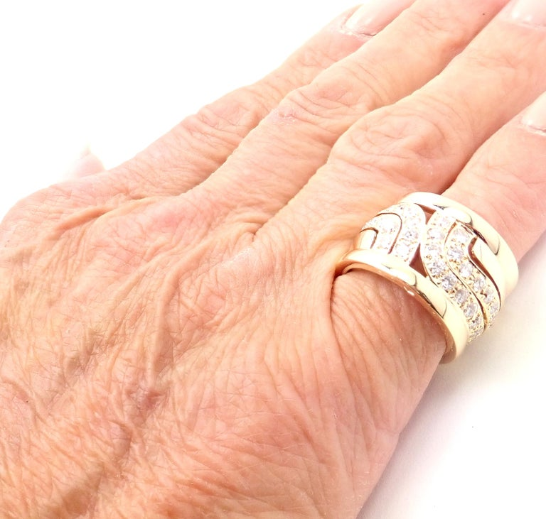 Cartier Diamond Wide Yellow Gold Band Ring For Sale 6