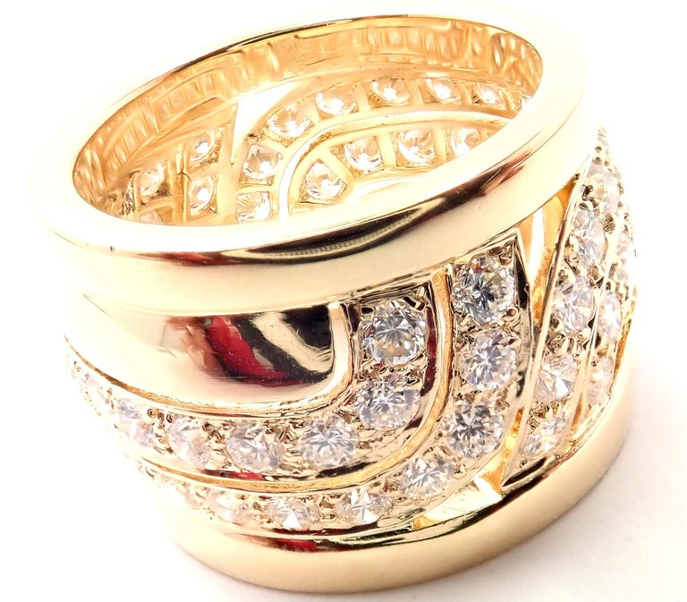Brilliant Cut Cartier Diamond Wide Yellow Gold Band Ring For Sale