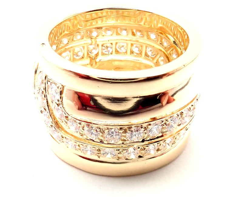 Cartier Diamond Wide Yellow Gold Band Ring In Excellent Condition For Sale In Holland, PA