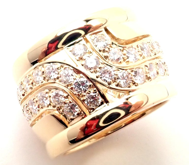 Women's or Men's Cartier Diamond Wide Yellow Gold Band Ring For Sale