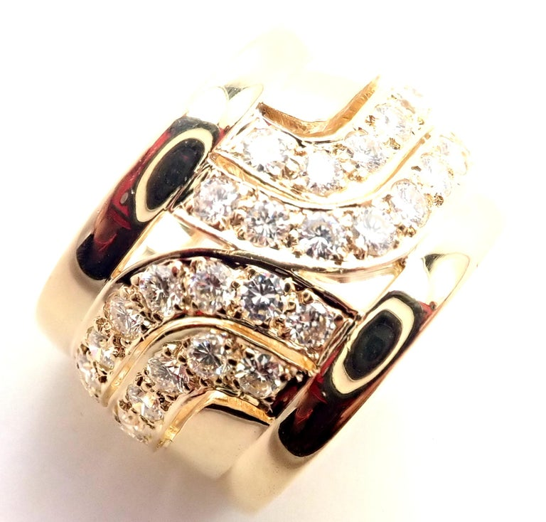 Cartier Diamond Wide Yellow Gold Band Ring For Sale 3