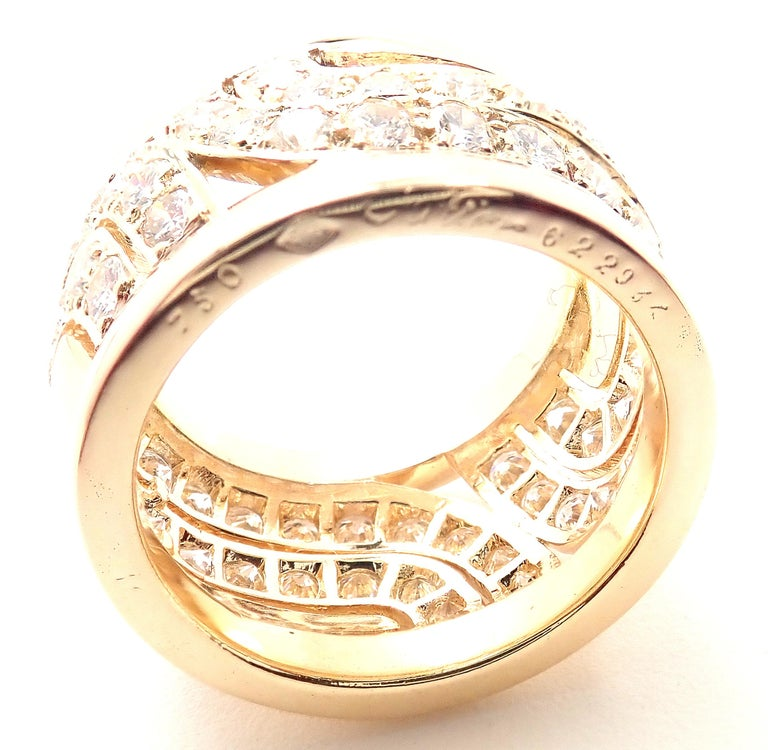 Cartier Diamond Wide Yellow Gold Band Ring For Sale 4