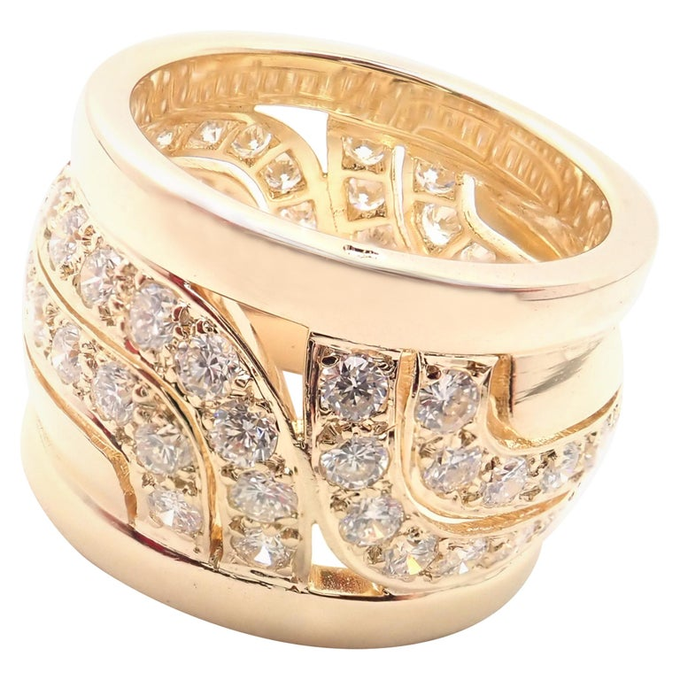 Cartier Diamond Wide Yellow Gold Band Ring For Sale
