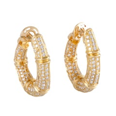 Cartier Diamond Yellow Gold Bamboo Hoop Earrings