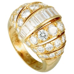 Cartier Diamond Yellow Gold Bombe Ring