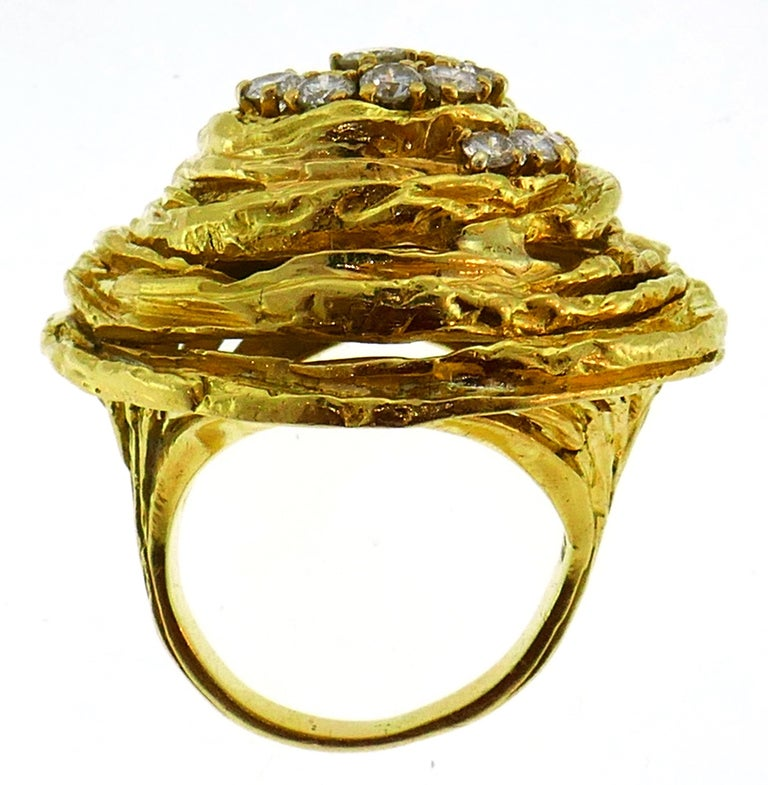 Cartier Diamond Yellow Gold Cocktail Ring For Sale 2