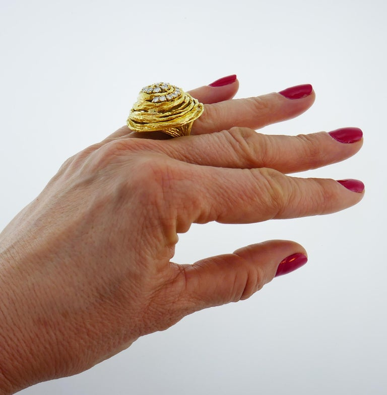 Cartier Diamond Yellow Gold Cocktail Ring For Sale 4