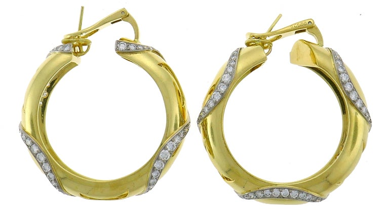 Round Cut Cartier Diamond Yellow Gold Hoop Earrings For Sale