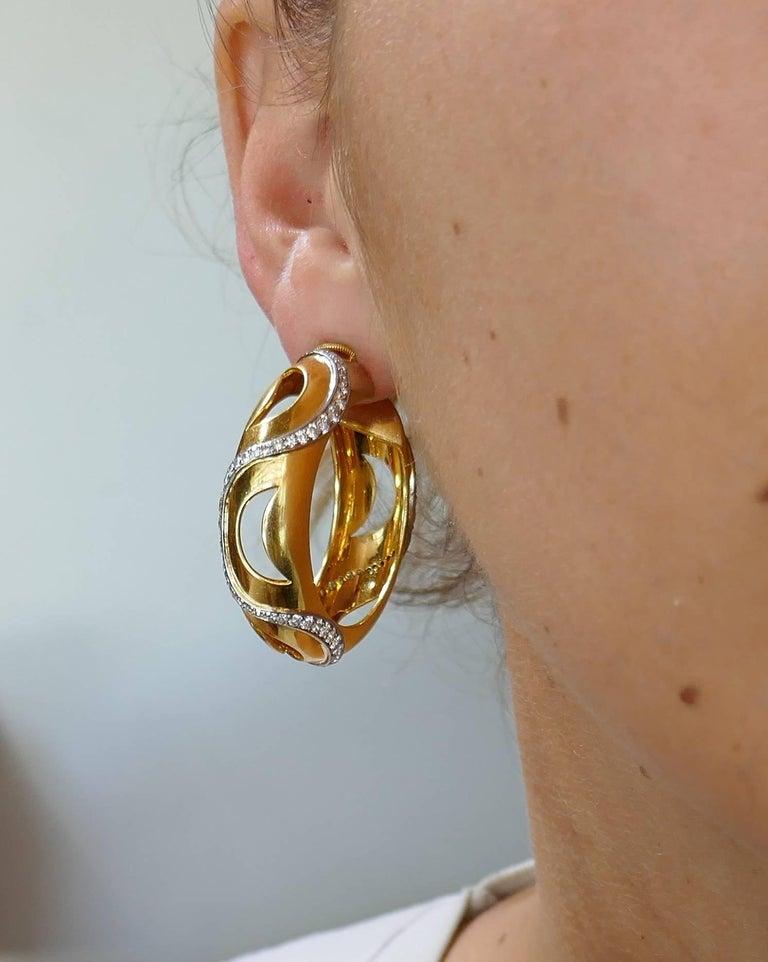 Women's Cartier Diamond Yellow Gold Hoop Earrings For Sale