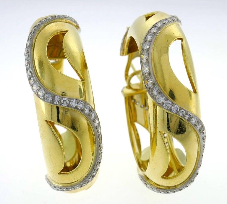 Cartier Diamond Yellow Gold Hoop Earrings For Sale 2