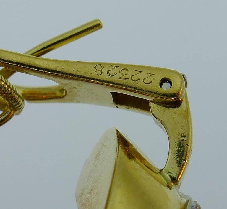 Cartier Diamond Yellow Gold Hoop Earrings For Sale 4