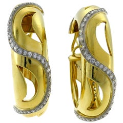 Cartier Diamond Yellow Gold Hoop Earrings