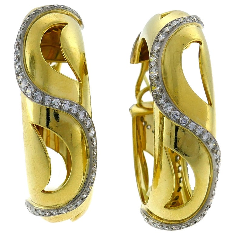 Cartier Diamond Yellow Gold Hoop Earrings For Sale