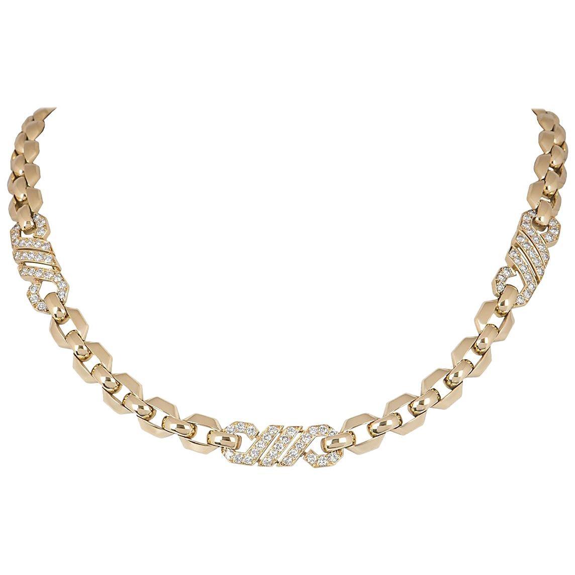 Cartier Diamond Yellow Gold Link Choker Necklace 3.00 Carat