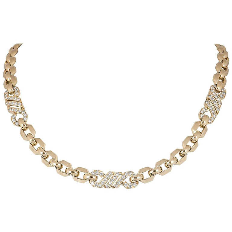 Cartier Diamond Yellow Gold Link Choker Necklace 3.00 Carat For Sale