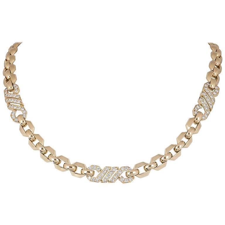 Cartier Diamond Set Yellow Gold Link Choker Necklace 3.00 Carats For Sale