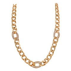 Cartier Diamond Yellow Gold Link Necklace