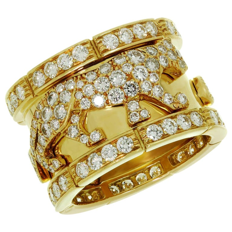 Cartier Diamond Yellow Gold Mahango Panther Band Ring Box Papers For Sale