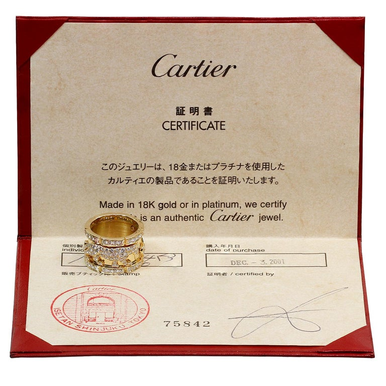 Cartier Diamond Yellow Gold Mahango Panther Band Ring Box Papers In Excellent Condition For Sale In New York, NY