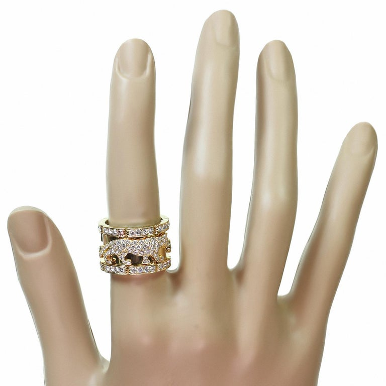 Women's Cartier Diamond Yellow Gold Mahango Panther Band Ring Box Papers For Sale