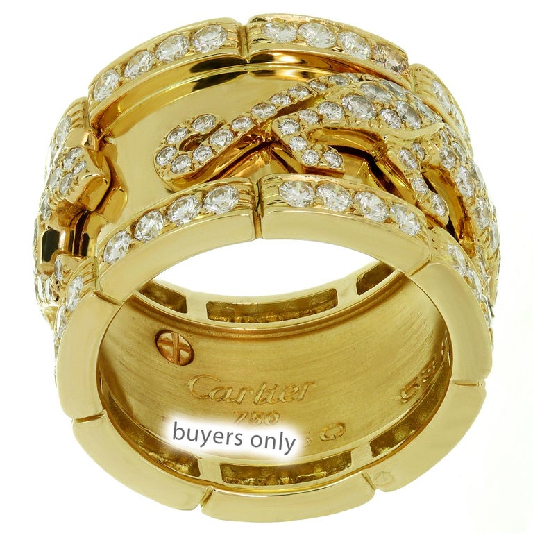 Cartier Diamond Yellow Gold Mahango Panther Band Ring Box Papers For Sale 1