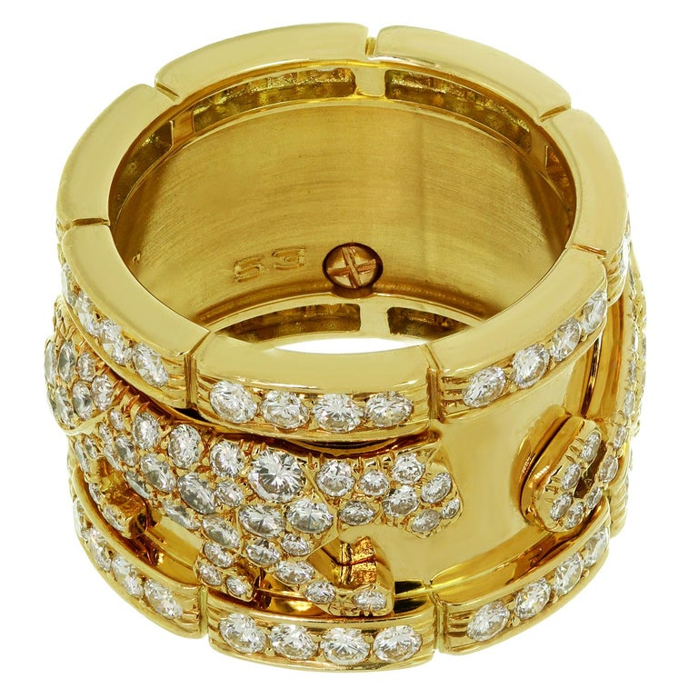 Cartier Diamond Yellow Gold Mahango Panther Band Ring Box Papers For Sale 2