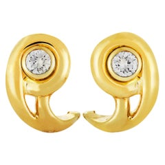 Cartier Diamond Yellow Gold Omega Back Earrings