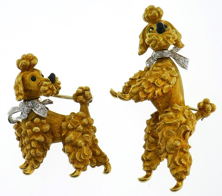 Retro Cartier Diamond Yellow Gold Poodle Clip Pin Brooch Pair, 1950s For Sale