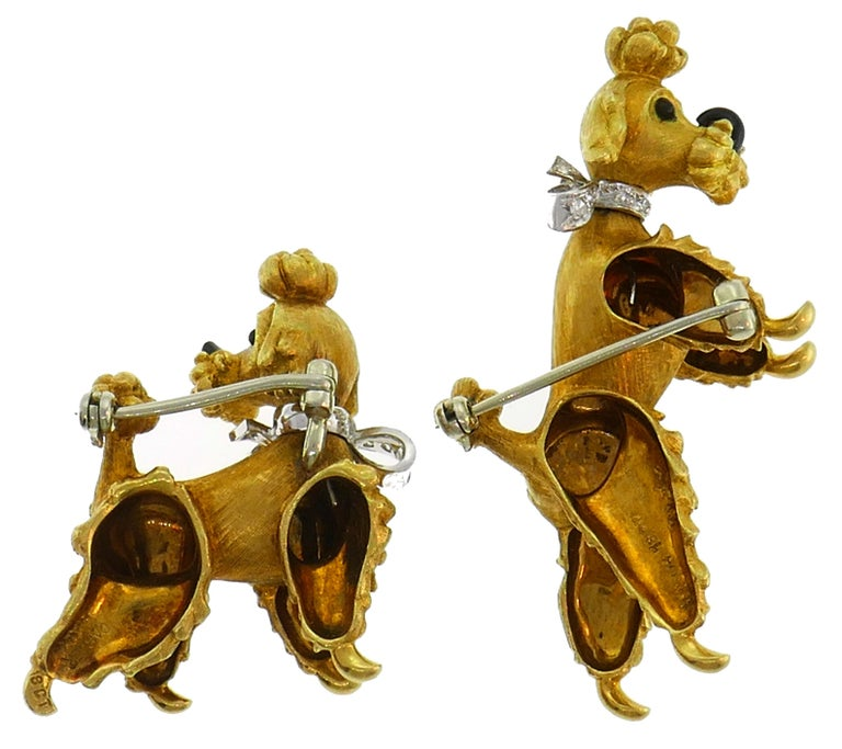 Cartier Diamond Yellow Gold Poodle Clip Pin Brooch Pair, 1950s In Good Condition For Sale In Beverly Hills, CA